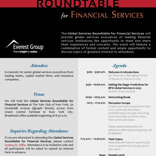 Everest Group Global Services Roundtable for Financial Services