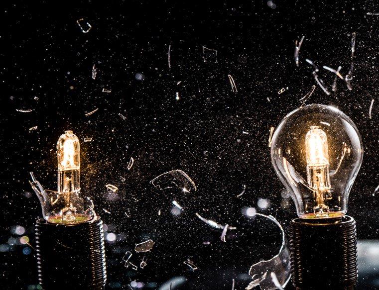 light bulbs shattering