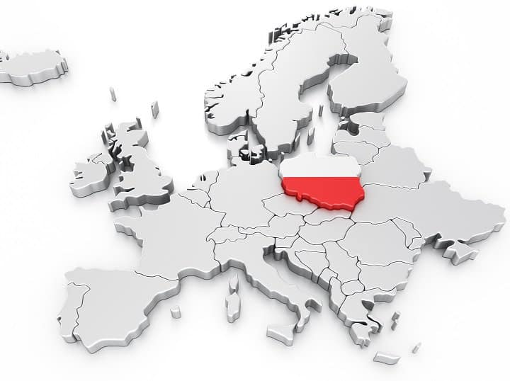 A 3-D rendering of a map of Europe that highlights Poland. The borders of Poland are raised above the other countries on the map, and it is colored in white and red, the colors of the polish flag. The rest of the map is white with a black drop shadow.