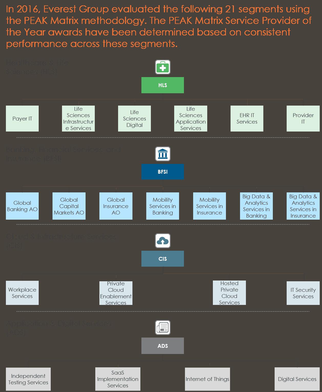 chart depicting 21 IT segments of study