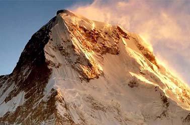 Snow-covered mountain peak