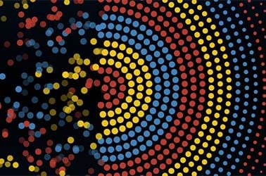 digital bullseye dissipating into digital dots