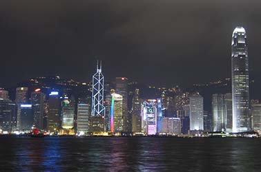 City skyline with lights at night
