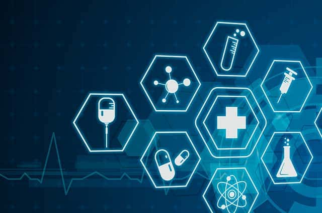 blue medical and pharmaceutical icons on blue background