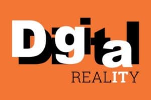 Digital reality text on orange background